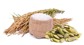 BÍLÁ RÝŽE, vejce, pivovarské kvasnice, dýňové semínko a olivový olej